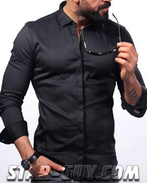 Черная рубашка мужская из Турции Артикул: 15-21