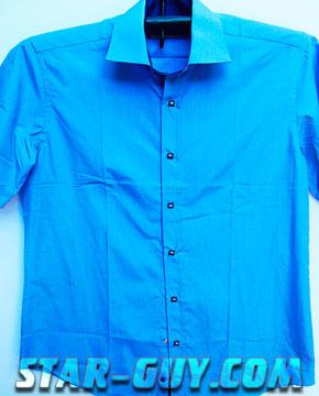 Мужская рубашка элегантная приталенная с коротким рукавом классика Pierre Pasolin Артикул: 15-4