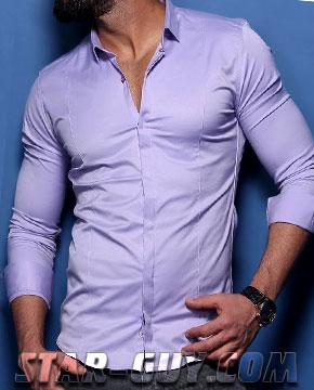 f58f8541d606313 Мужская рубашка производства Турции сиреневая Артикул: 15-20 ...