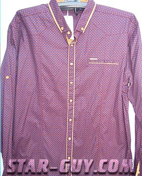 Рубашка мужская бордовая длинный рукав Артикул: 15-7